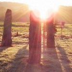 Dartmoor-solstice-sunrise,-Camping-Caravan,-Stone-Circle
